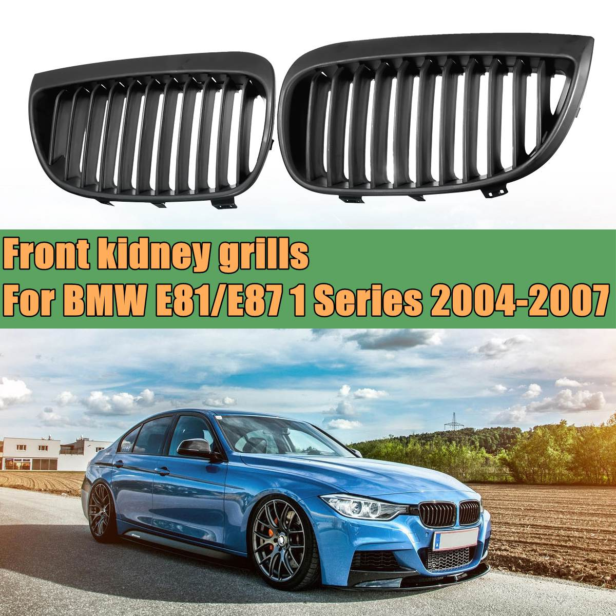 Front Sport Kidney Grill Grilles Matte black for BMW E87 E81 1 Series 2004 2005 2006 2007