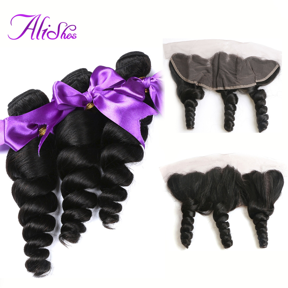 Alishes Brazilian Loose Wave Bundles With Frontal Ear To Ear Lace Frontal Closure With Human Hair Bundles 4PCS/LOT Remy Hair