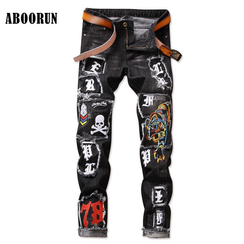 ABOORUN Fashion Mens Punk Jeans Tiger Skull Embroidery&Patchwork Denim Pants Singers Dancers Pencil Jeans YC1161 aboorun new mens pu patchwork slim fit jeans fashion skull rivet pencil denim pants with zippers for men b052