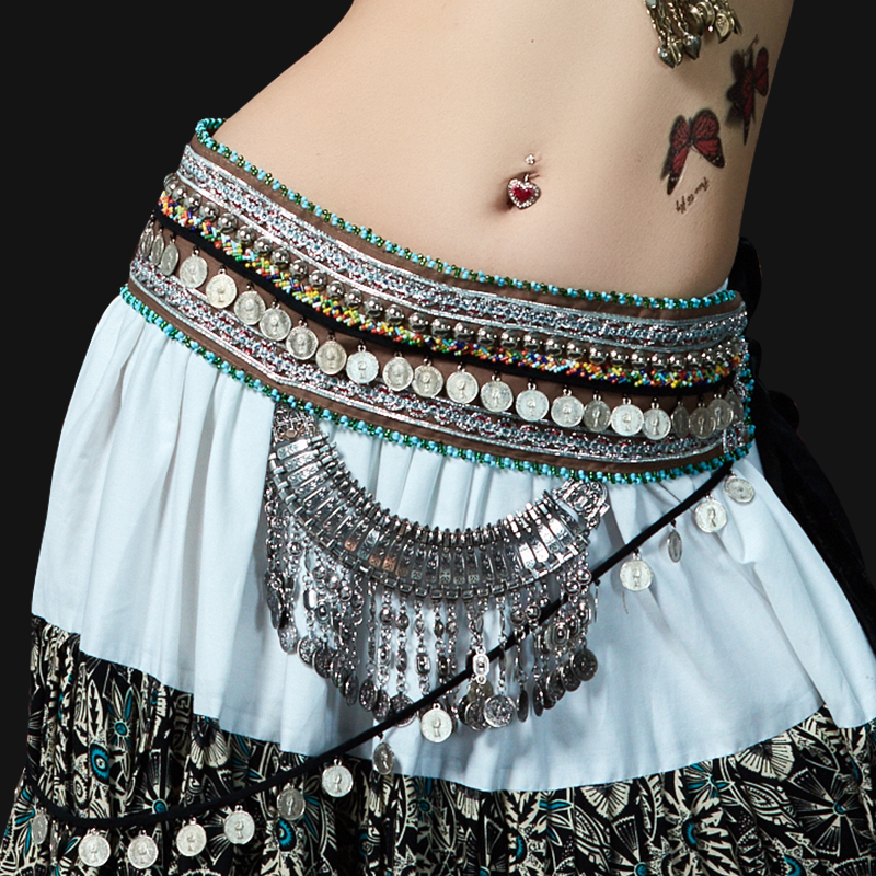 2018 New Tribal Belly Dance Waist Belt Adjustable Metallic Chain Belt for Gypsy Dance Coins Hip Scarf Bellydance