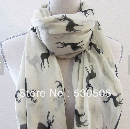 Deer Scarf Ivory And Black Deer Large Fashion Scarf