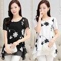 2016 tops de Verão mulheres chiffon blusa quimono do vintage plus size casual lady túnicas camisa blusa camisa feminina branco, preto M ~ XXXL