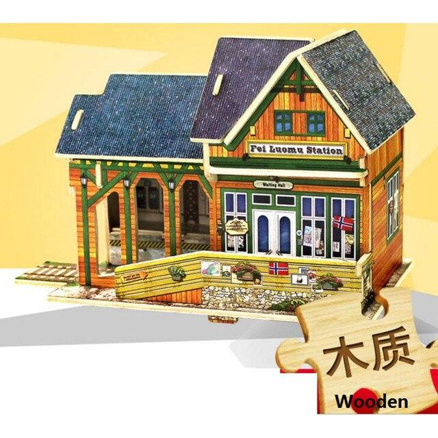 3 Sätze/los 3D Holz Puzzle DIY Modell Kinder Bildung Spielzeug Norwegen  Japan Stil Haus
