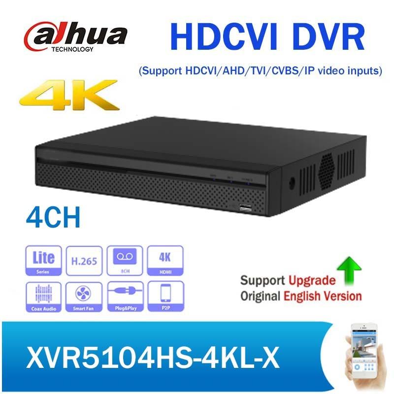 Dahua XVR5104HS-4KL-X 4 Channel H.265 Penta-brid 4K Compact 1U Digital Video Recorder Support HDCVI AHD TVI CVBS IP video inputs