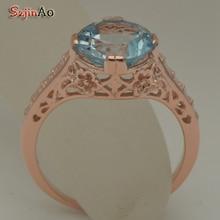 Szjinao aquamarine ring real 14 k yellow gold rose ring hand