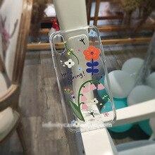 HKGK 2019 Cute Flower Patterned Case For iPhone X XS MAX XR 6 6S Plus Transparent Soft Cover For iPhone 7 8 Plus X Case Back стоимость