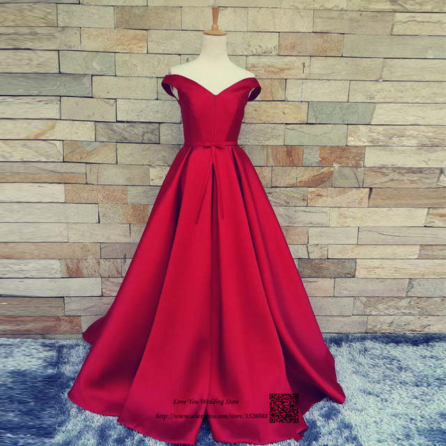 US $95.2 20% OFF|Real Dark Red Long Evening Gowns Satin Plus Size Cheap  Prom Dresses Women Pageant Dress off Shoulder Vestido de Festa Longo-in ...