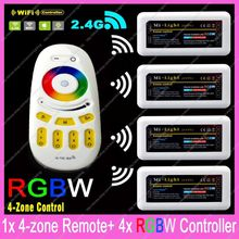 1x 2.4G RF Wireless 4-Zone Touch Remote + 4x DC12-24V 10A Mi-light RGBW Controller Set WiFi Compatible For 5050 RGBW Strips