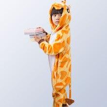 Flannel winter christmas pajamas unicorn pajamas for girls cartoon animals Hooded sleepwear onesie Boy pyjamas kids