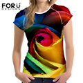FORUDESIGNS Fashion 3D Rose Pattern Women Fashion Casual T Shirt Tees Brand Clothes Elastic Bodybuilding Woman Tops Fitness 2017