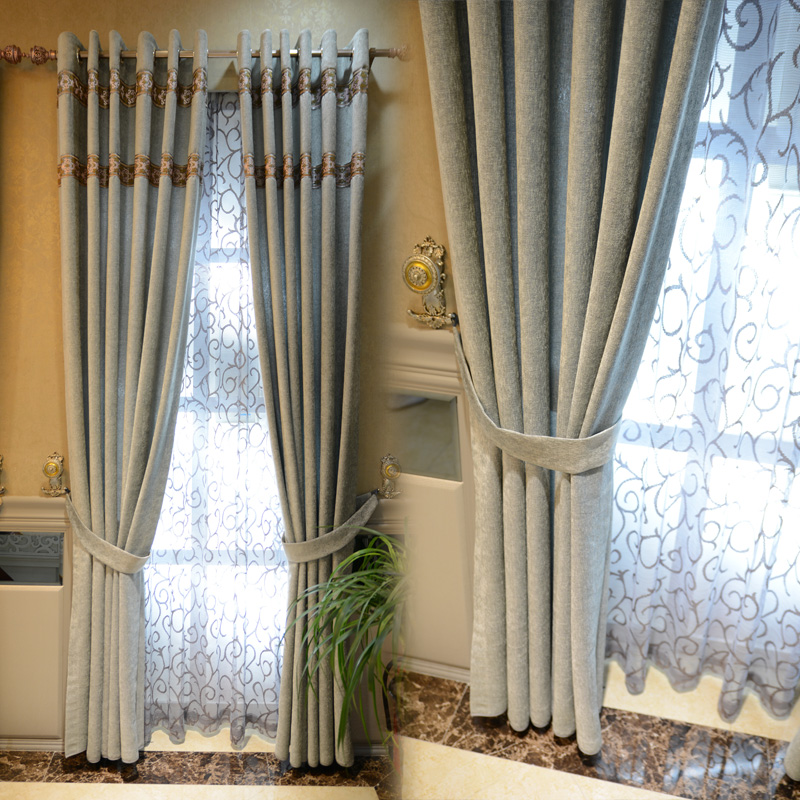 AS EXPECTED Quality chenille curtain grey blue light blue ...