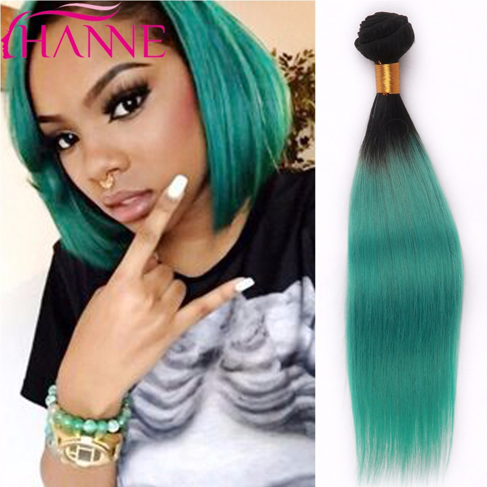 Fashion Short Human Hair Weave 1b Green Ombre Color