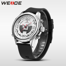 WEIDE luxury genuine sport men watch Silicone quartz watches water resistant analog watch digital white  clock business watches weide clock luxury quartz watches men white sports electronic watch leather strap watchbands mehanical hand wind water resistant