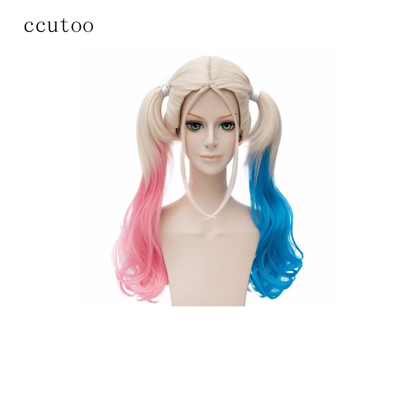 "ccutoo Harley Quinn Harleen Quinzel DC Cartoon 20"" Pink Blue Blonde Mix Curly Ponytails Synthetic Hair Cosplay Full Wigs"
