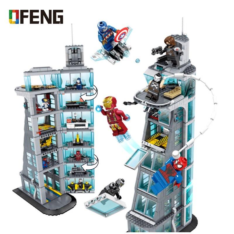 Oyuncaklar ve Hobi Ürünleri'ten Bloklar'de Yeni Avengers Kulesi Yapı Blok fit endgame infinity savaşları rakamlar Süper Kahramanlar ironman marvel Tuğla Çocuk hediye Oyuncak'da  Grup 1