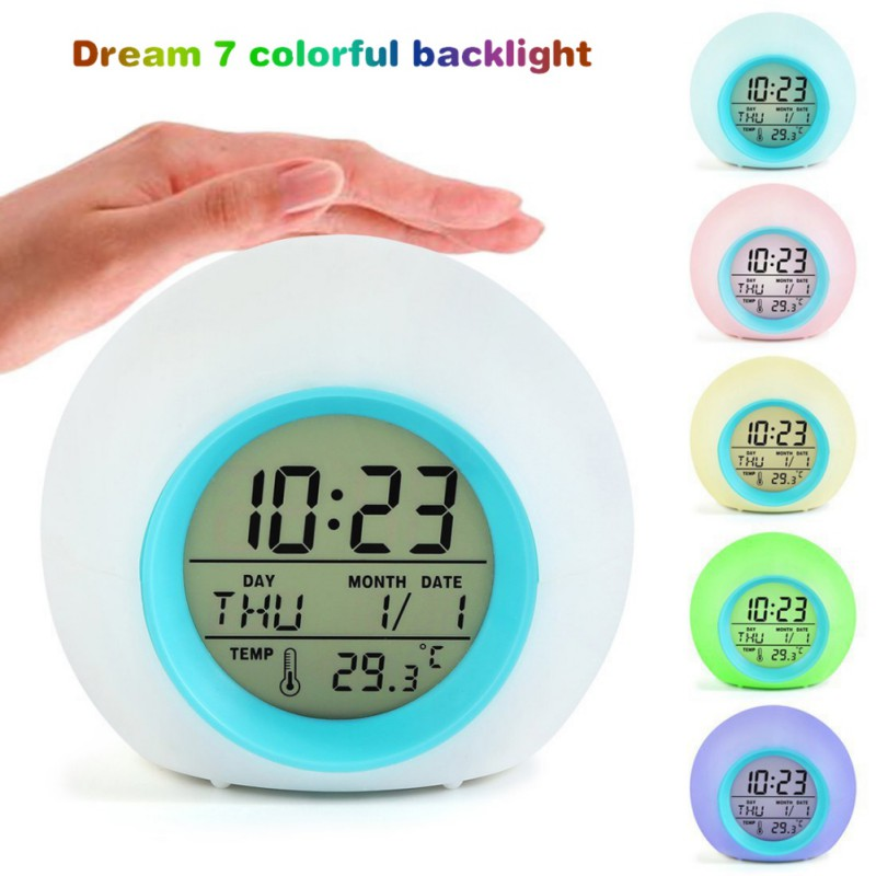 Sunrise Wake Up Digital Table Alarm Clock Nature Sound 7 Colors Led Kids Alarm Clocks Desktop Calenda Frontal Decoration Snooze Be Novel In Design Home Decor Clocks