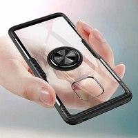 Funda con soporte de anillo para Huawei Mate 20 Pro, funda protectora transparente con imán, a prueba de golpes, 20pro