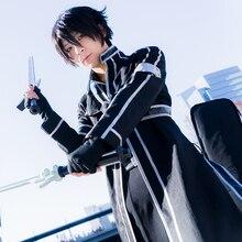 цена на Sword Art Online Kirito Kazuto Kirigaya Cosplay Costume Full Set(Cloak Gloves Belt Shirt Tube Tops)