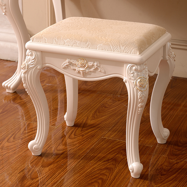 French Style Wood Dressing Stool Luxury Design For Woman Bedroom Dresser Hot Sell