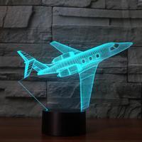 طائرة الهواء طائرة 3d ضوء led 7 لون تغيير 3d يلة الجدول مصباح اللمس usb مكتب مصباح ضوء الطفل النوم الاطفال عطلة هدية