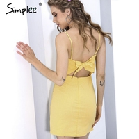 Simplee Backless 2017 Beach Summer Dress Women Sundress Bow Casual Linen Sexy Dress Slim Fit Bodycon