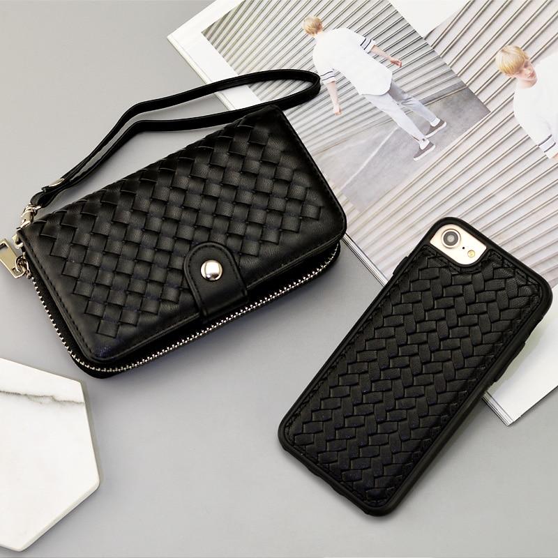 bilder für Luxus Frauen Reißverschluss Tasche Woven Leder Abnehmbare Hülle mit Magnetkarten halter für iPhone 7 iPhone 6 6 s plus