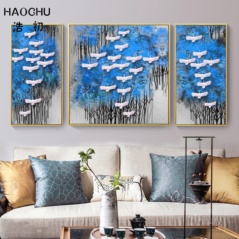 Marvelous Us 11 82 45 Off Haochu Chinese Blue Black Forest Geese Group Landscape Canvas Painting For Living Room Home Wall Decor Art Poster Wall Stickers In Home Interior And Landscaping Spoatsignezvosmurscom