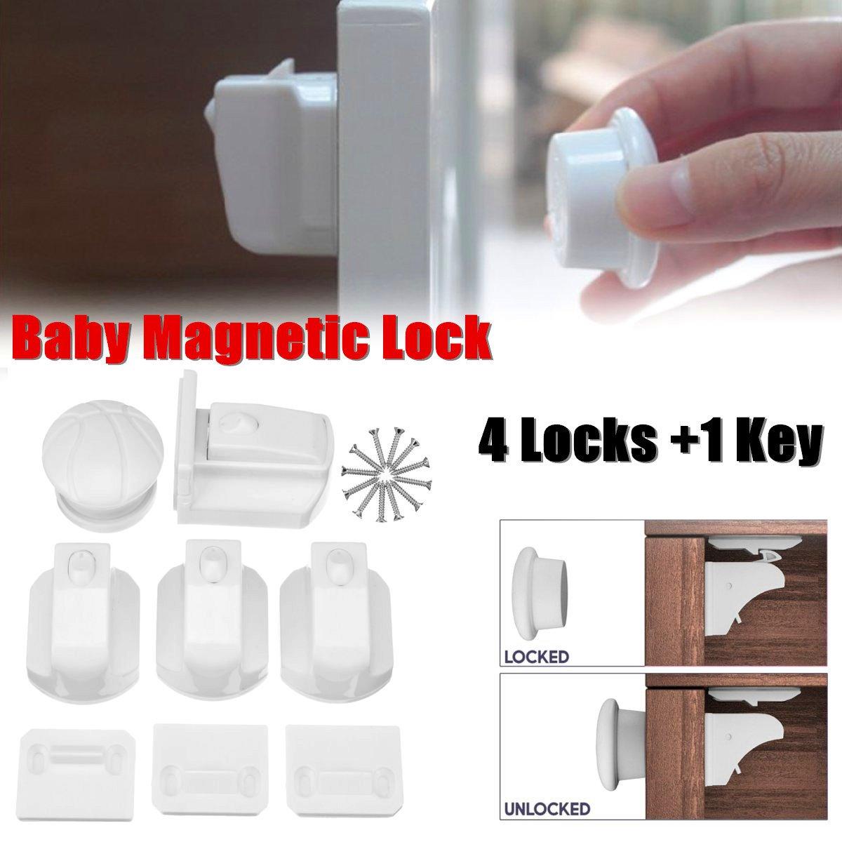4pcs Magnetic Child Lock Baby Cabinet Safety Locks Kids Armario Drawer Locker Security Latches Cupboard