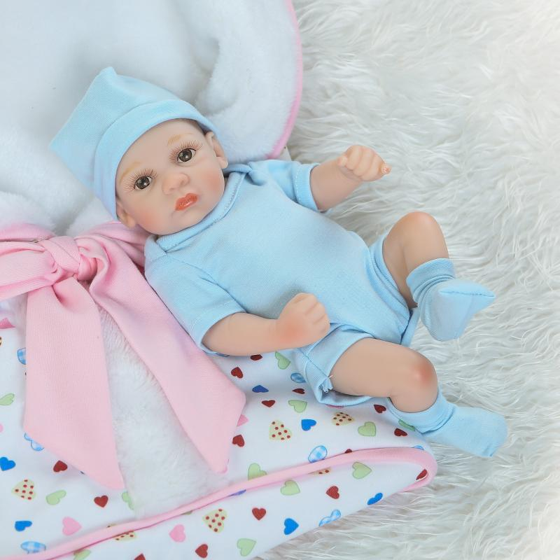 NPKcollection27cm Hand-painted hair full silicone doll lifelike newborn twin baby with sleeping bag silicone reborn baby dolls 1