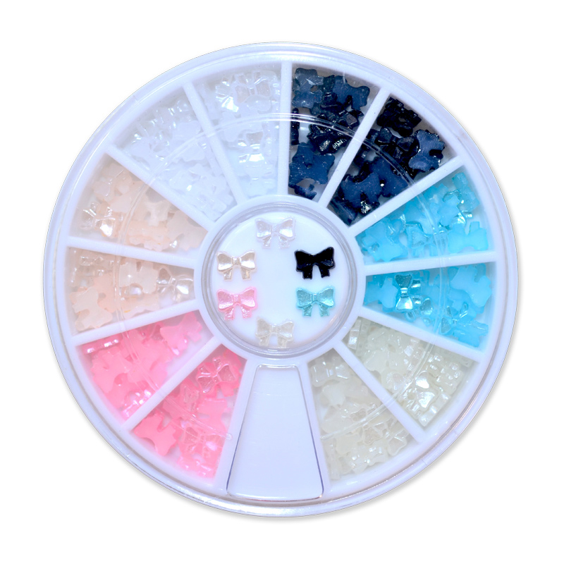 ZKO 1 wheel 6 colors beauty nail art glitter decoration tools 3d bow tie pearl wheel nail supplies tools rhinestones for nails