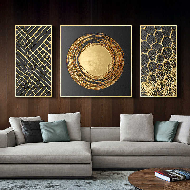 3 Panels Abstract Gold Foil Art Modern Pictures Canvas Painting Wall Poster for Living Room Office Home Decorative Ready to Hang