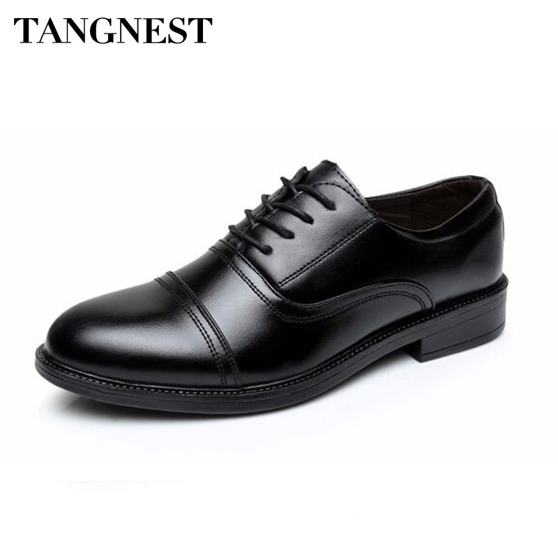 Tangnest 2017 New Arrival Men Flats Solid Round Toe Lace Up Men's Business Shoes PU Leather Slip-on Wedge Shoes For Man XMP628 pencil pants for women plus size embroidery jeans denim high waist casual pants slimming spring autumn cotton blend nnd0701