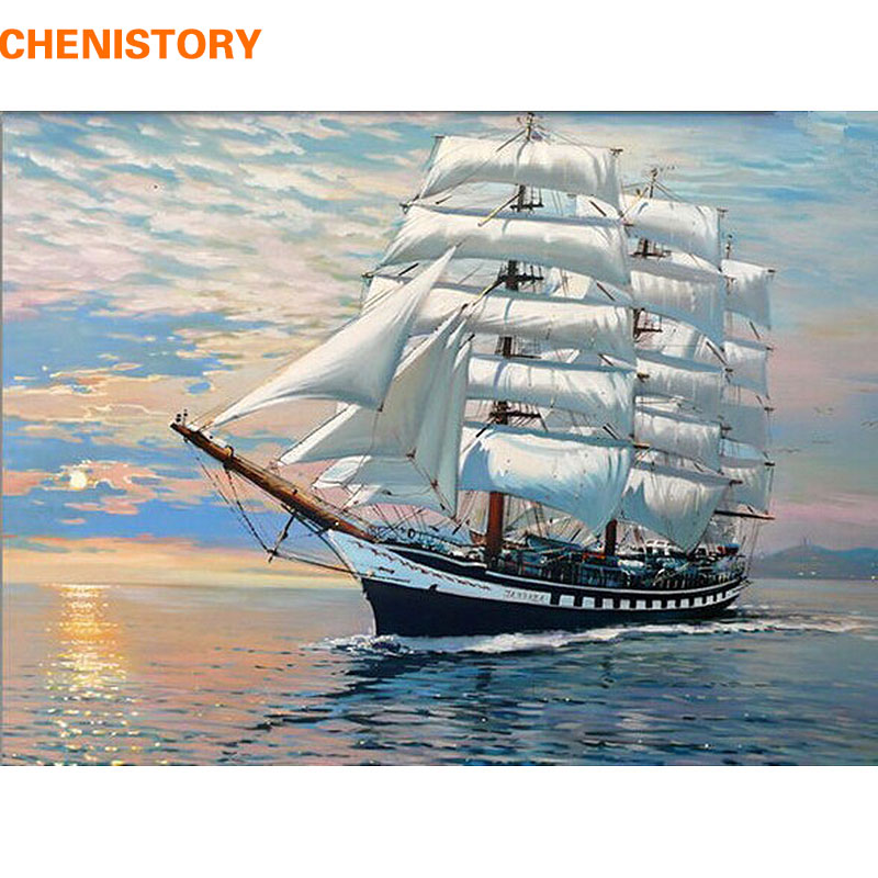 CHENISTORY Sailing DIY Digital Oil Painting By Numbers Kits Coloring Painting By Numbers Unique Gift For Living Room Home Decor