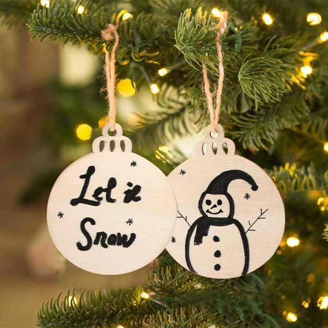 Us 425 29 Off20pcs Unfinished Wooden Tags Hanging Christmas Tree Ornaments Blank Rustic Round Gift Tags Diy Painting Craft Holiday Decoration In