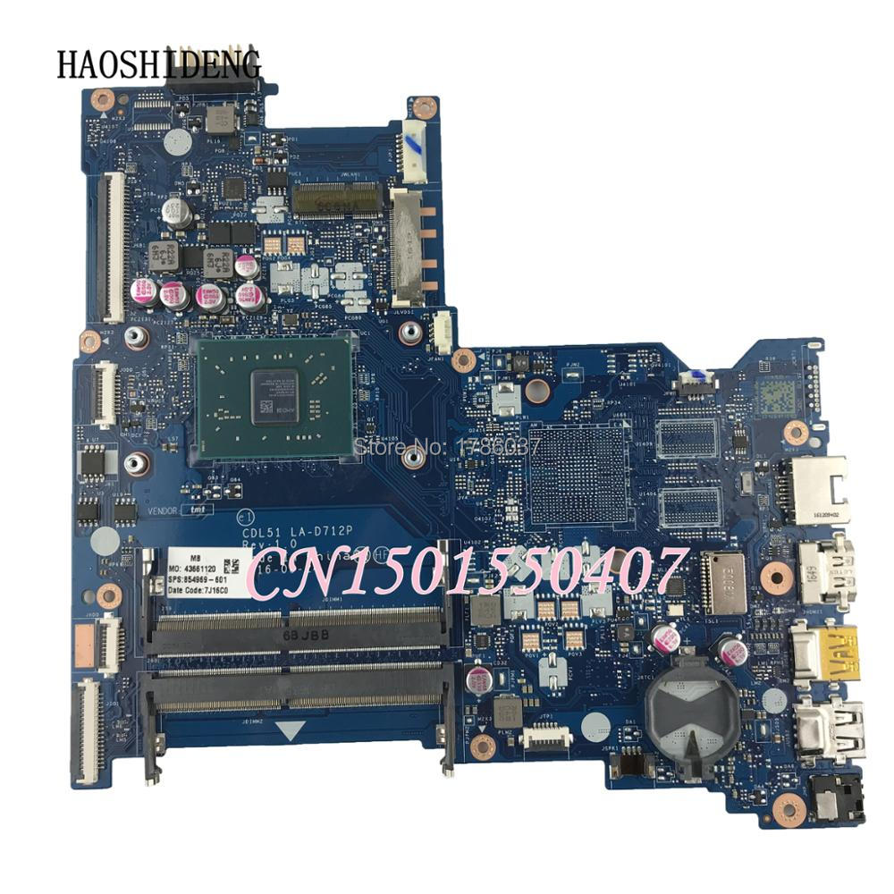 HAOSHIDENG 854969-601 854969-001 Notebook Motherboard For HP 15-BA 15-BA113NA Laptop motherboard CDL51 LA-D712P with A9-9410 CPU sheli for hp 15 15 f motherboard with n3050 cpu 828168 001 828168 601