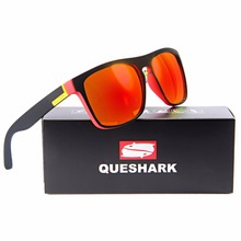 QUESHARK Polarized Sunglasses Men Camping Fishing Glasses Uv400 Protection Cycling Goggles TR90 Frame Sports Hiking Eyewear