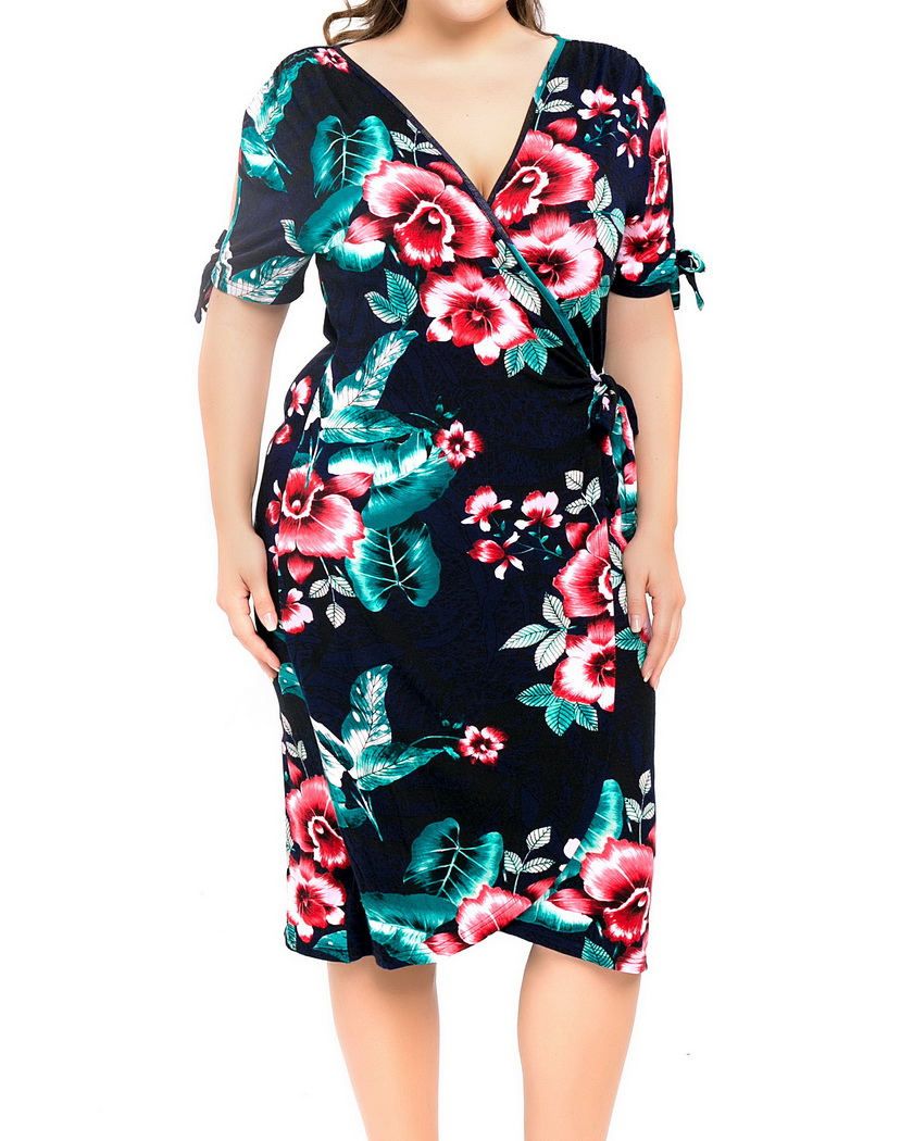c372c2a13b Chicwe Women's Stretch Plus Size Floral Printed Wrap Dress Large Size Big  Size 1X 4X-in Dresses from Women's Clothing on Aliexpress.com | Alibaba  Group