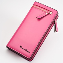 Hot sale Solid Top PU Leather Women wallets with Double Zipper Hasp Large Capacity multifunctional ladies Purse