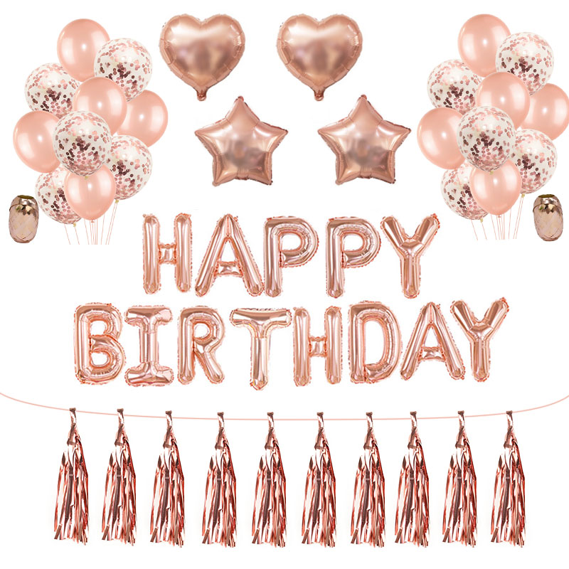 Rose Gold Wedding Birthday Party Balloons Happy Birthday Letter Foil Balloon Baby Shower Anniversary Event Party Decor Supplies 1