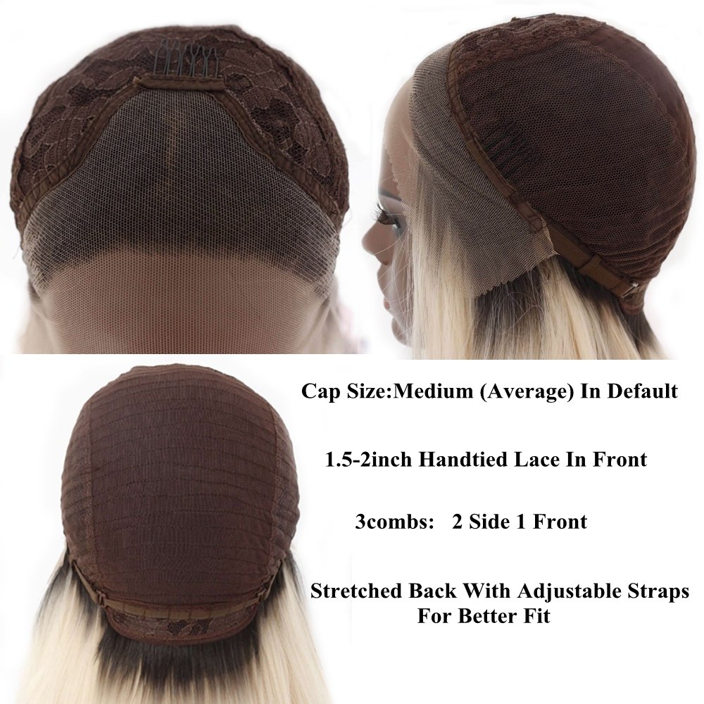 Image 5 - BeautyTown Dark Root Ombre Brown Short Heat Resistant Hair Blogger Daily Makeup Glueless Synthetic Lace Front Wedding Party Wigs-in Synthetic Lace Wigs from Hair Extensions & Wigs