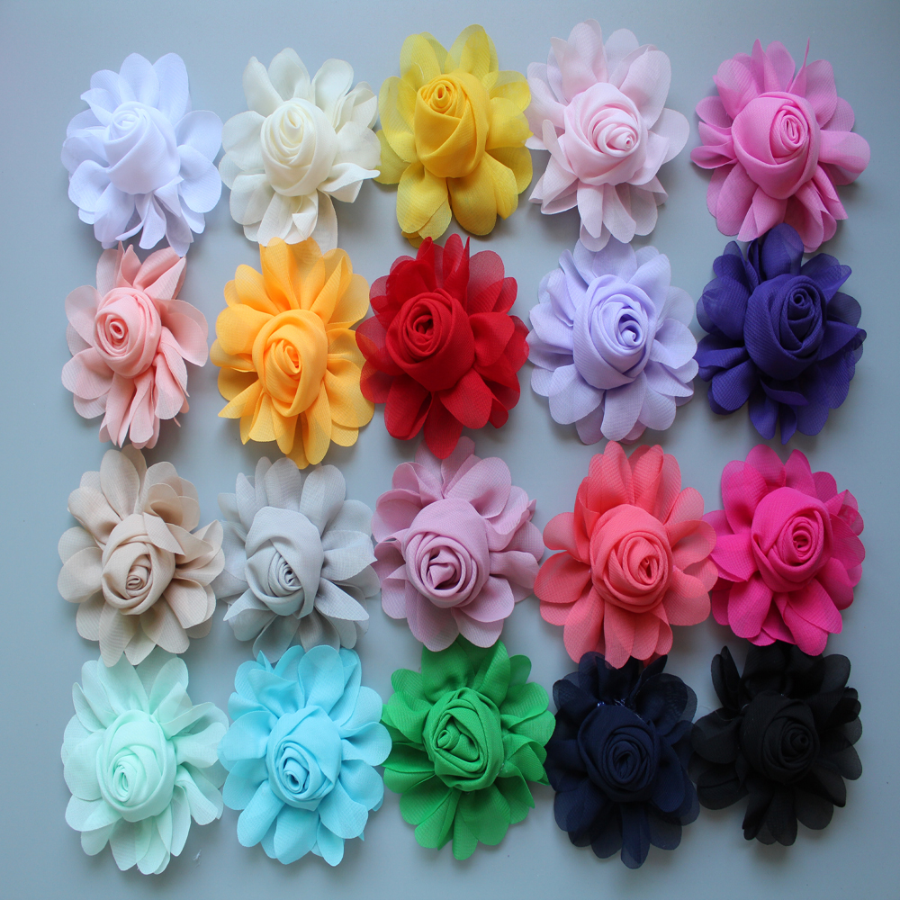 DHL FREE 500pcs/lot 8CM cute Girl Beautiful rose Hair Flowers Chiffon Artificial Flower WITHOUT Clip for DIY hair accessories