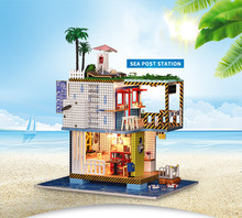 DIY Miniature Dollhouse Sea Post Station Toys for Children CuteFamilies House Family Valentines Day Gift Girl