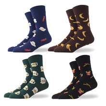 Funny Breakfast Beer Chip Bacon Banana Fried Eggs Combed Cotton Socks Men s Fun Cute Food