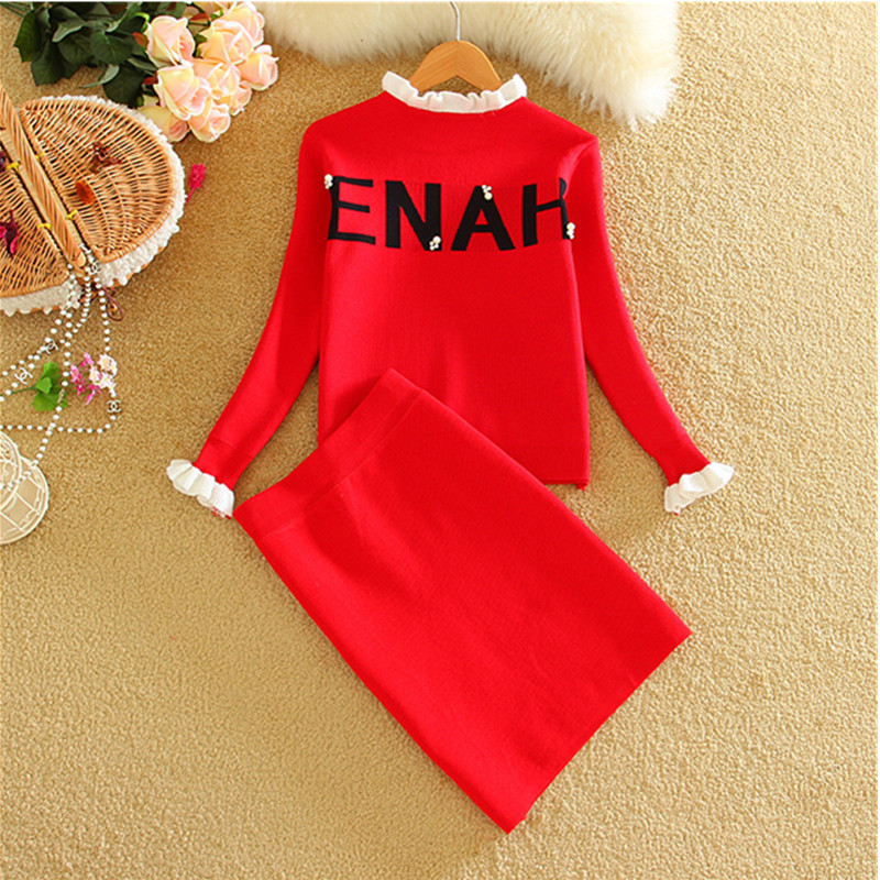 2019 New Woman Fashion Knitting Tops+Skirts Sets Autumn Winter Long Sleeve Woman Letters prited Knitted Sweaters Skirt Set