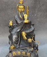 14 Китайский Бронзовый свинка даосский Экзорцизм бессмертный Бог Небесный мастер Чжан статуя