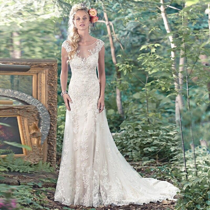 Aliexpress Com Buy Simple Elegant See Through Lace Part: Vestidos De Novia Sexy Tulle Wedding Dresses Vintage See