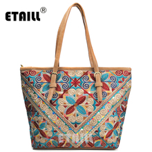 ETAILL Large Capacity Womens Canvas Embroidered Handbag Casual Chinese Ethnic Shoulder Bags Vintage India Thai Travel Tote