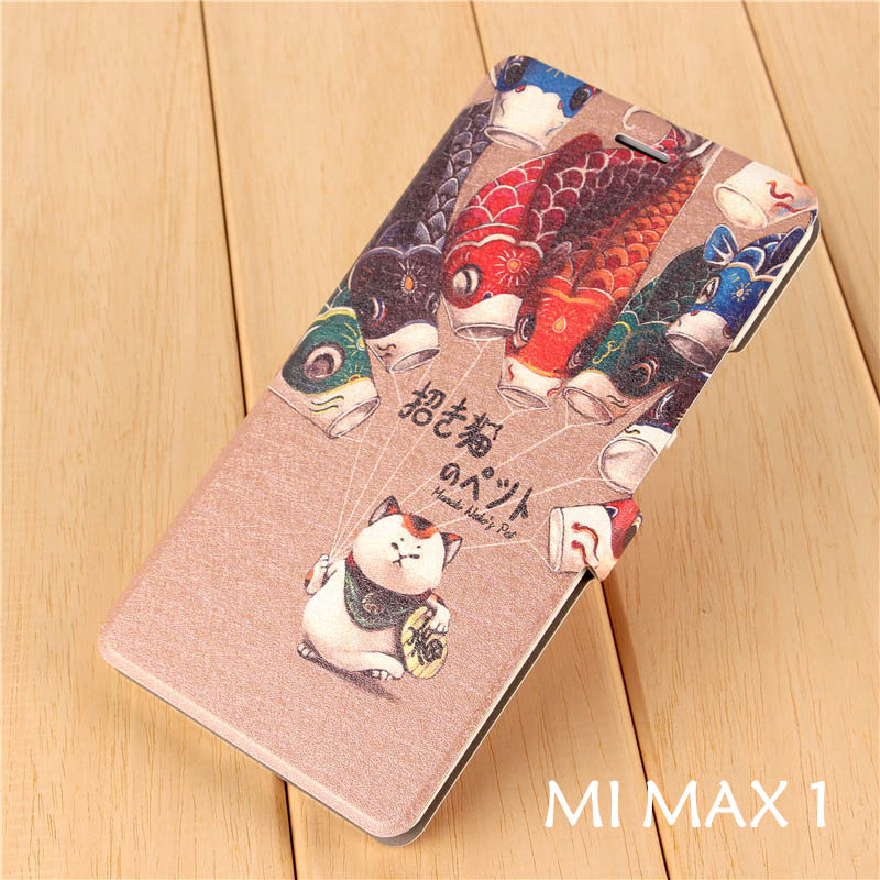 Xiaomi mi max 1 mimax1 Matte flip cover cartoon Pu leather flip case 6.44 1440 HD Lucky cat High end painting