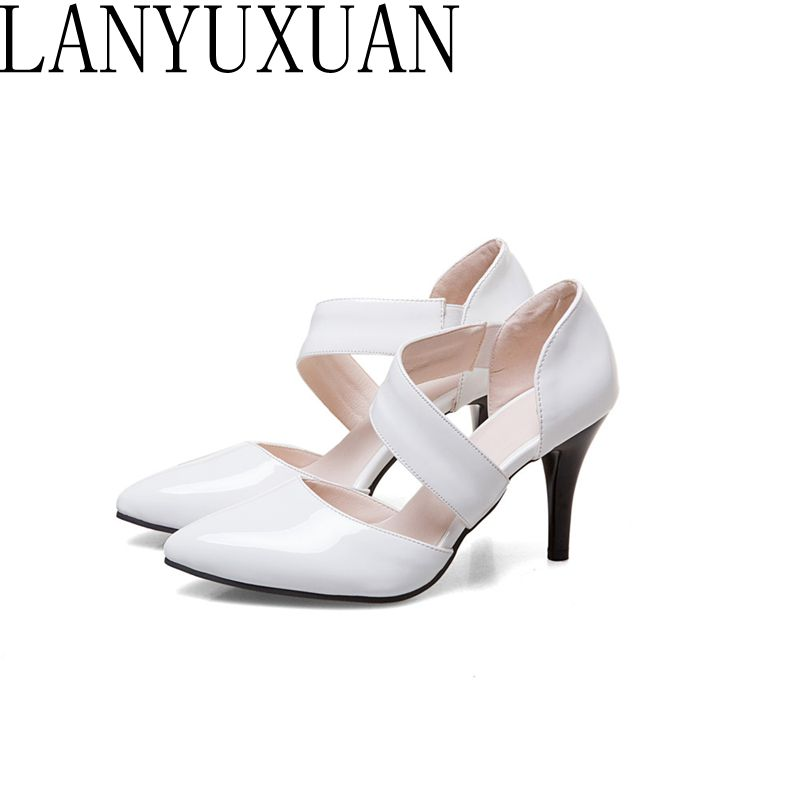 LANYUXUAN  Big and Small Size 31-47 Ladies Shoes summer Sandals Woman High Heels Chaussure Pumps Pointed shoes 1396 lanyuxuan new ladies shoes gladiator