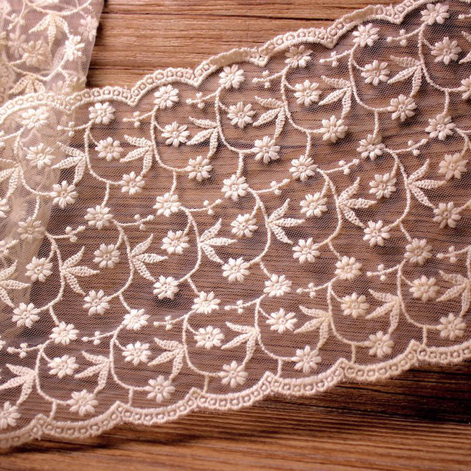 5 Yards 13 2CM Wide Embroidered Floral Sewing Fabric Lace Trimming Mesh White Garment Accessories Wedding Dresses Decoration in Lace from Home Garden